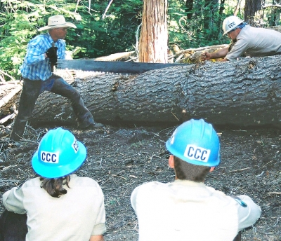 Showing new crew how to use the crosscut saw on a tree across the trail. Photo by Julie Green.