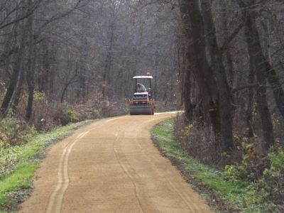 The trail gets a  6 mile new limestone surface every year. Photo by Heritage Trail Dubuque.