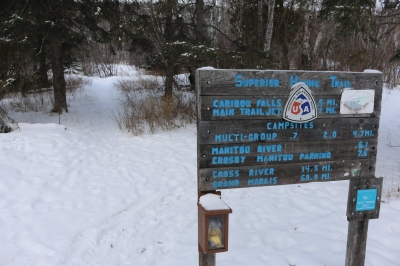 Trailhead sign  at Caribou Falls State Wayside. Photo by No Shore Scenic Drive Council.