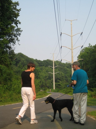Walking the dog on the W&OD with Christie and Steve. Photo by Stuart Macdonald.