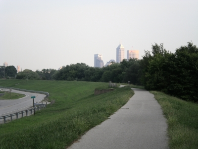 Downtown Indy from two miles up the trail. Photo by John Terrill.
