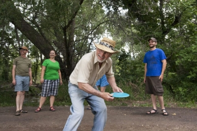 The Poudre Trail even has a frisbee golf course among the trees in Laporte, CO. Photo by Gabriele Woolever.