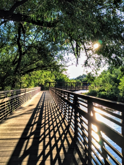 The Poudre Trail bridge at Lions Open Space in Laporte, CO. Photo by Hailey Groo.