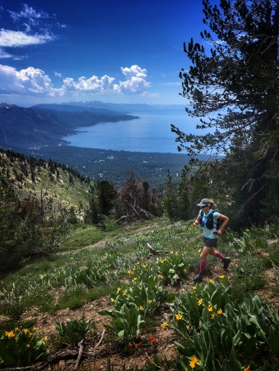 Jenelle Potvin on the Tahoe Rim Trail running home to Truckee. Photo by Lucas Horan.