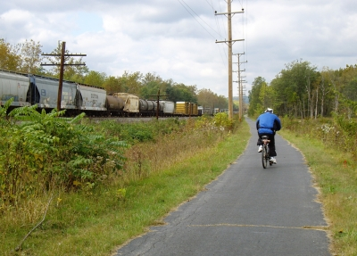 Following the train west. Photo by Mary Shaw.