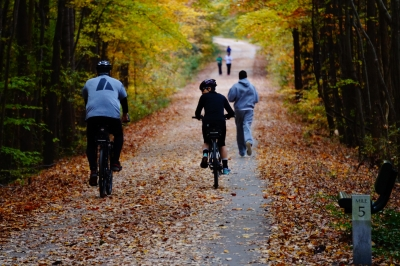 Bikers and walkers having fun on the trail. Photo by Sarina Lewis.