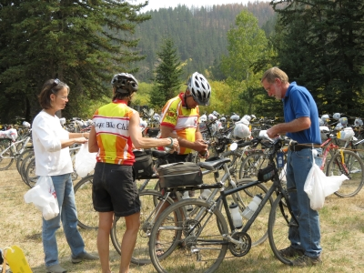 Volunteers work hard to get 575 bicycles parked during the 16th Annual Mickelson Trail Trek. Photo by Brooke Smith.