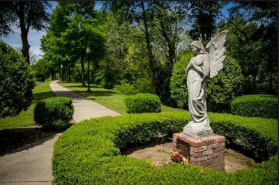 Landscape and statuary along the Kitty Dill Memorial Parkway. Photo by West Point Main Street.
