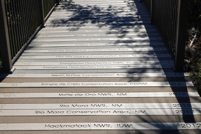 Boardwalk commemorating all of the National Wildlife Refuges in the USA. Photo by Jim Walla.