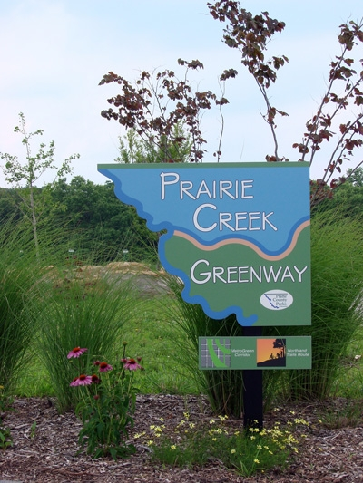 Prairie Creek Greenway Entrance Sign.