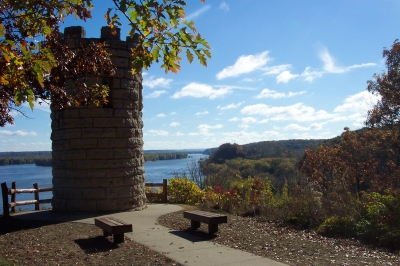 Julien Dubuque Monument and the Mississippi River.