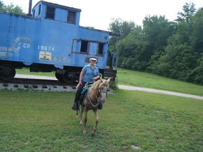 Rider and rail car. Photo by Kari Kirby.