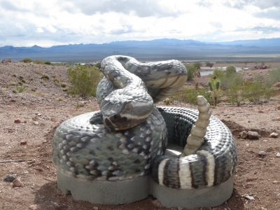 Giant concrete rattlesnake in Bootleg Canyon by the RMLT. Photo by Tony Taylor.