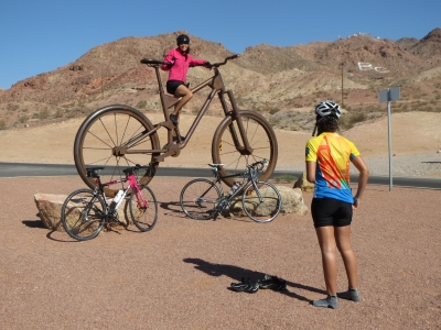 Big Bike (metal) at the confluence of the RMLT and Bootleg Canyon International Mtn Bike area. Photo by Tony Taylor.