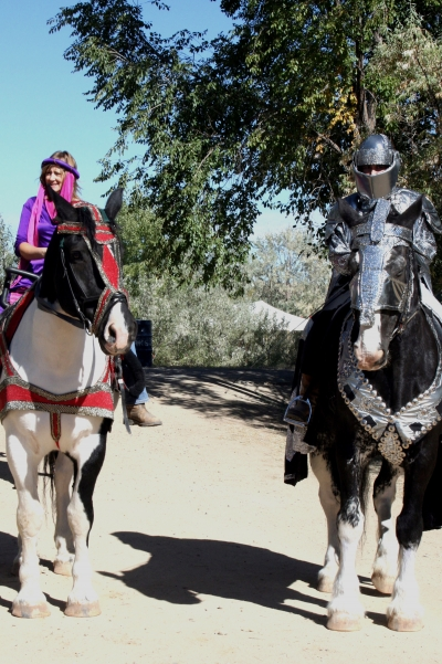 Knight and Damsel: Renaissance Faire performers meandering along the trail. Photo by Jody Carman.