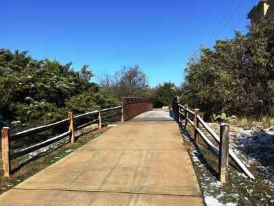 It may be another 30 years before we see snow accumulate on this bridge located on the Leon Creek Greenway in San Antonio. Photo by Adelyn Alanis.