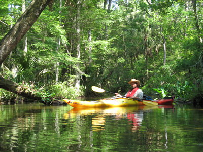 Paddler on historic Slave Canal