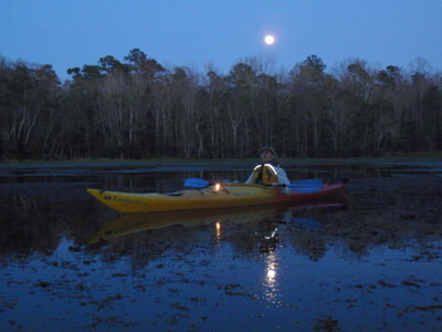Winter in Florida, full moon on the Wacissa