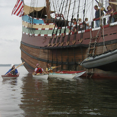 Kayakers and replica of Henry Hudson's Half Moon