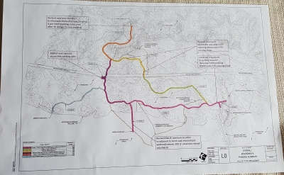 Plans for Hellcat Interprative Trail Reconstruction. Photo by Andy Griffith.