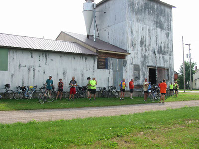 The Michigander bike tour stops for a break along