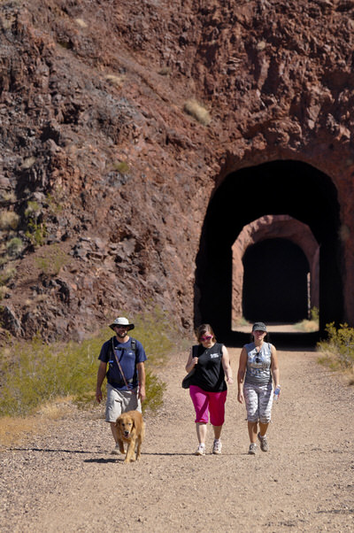 Hikers on the Historic Railroad Trail.