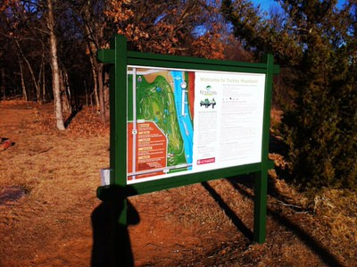 Trailhead sign and maps.