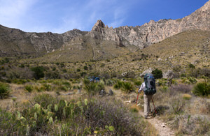 Guadalupe Ridge Trail as it passes through McKittrick Canyon in Guadalupe Mountains National Park, Texas.