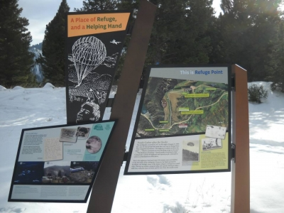 Interpretive signs greet the visitor at Refuge Point Trailhead. Photo by USFS-Custer Gallatin NF.