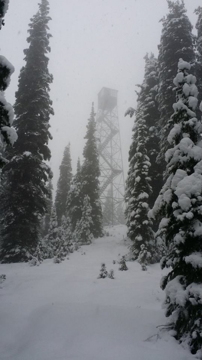 Quartz Mountain Fire Lookout in Winter. Photo by USFS.