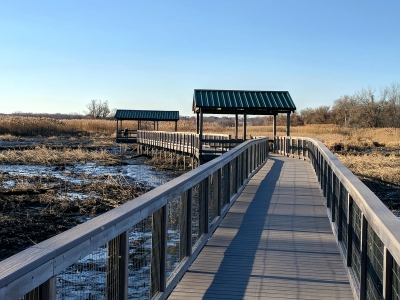 Wildlife observation deck on the East Impoundment Trail.  12-1-2017. Photo by Jim Walla.