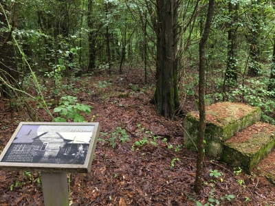 The nature trail features interpretative signs that point out former grist mill and home sites. Photo by Donna Kridelbaugh.