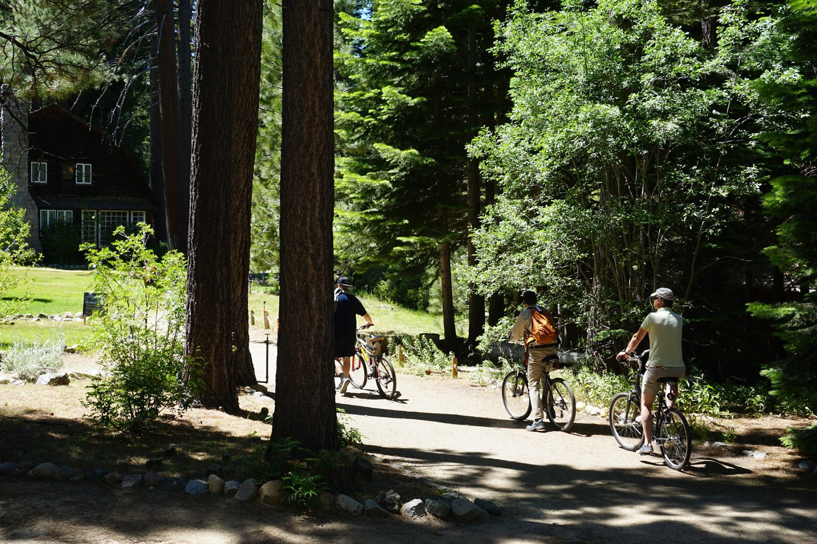photo: Cyclists visit the USFS's Tallac Historic Site, Emerald Bay Road, South Lake Tahoe. Photo by Tahoe Heritage Foundation, Sou.
