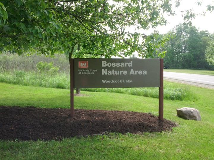 photo: Bossard Nature Area sign. Photo by USACOE.
