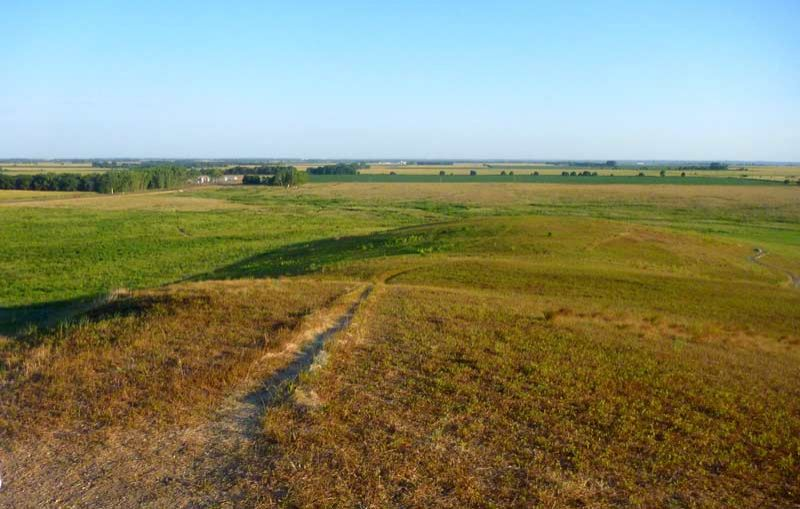 photo: View of the prairie from Spirit Mound Summit Trail, north of the town of Vermillion, South Dakota; photo by Fiana Shapiro