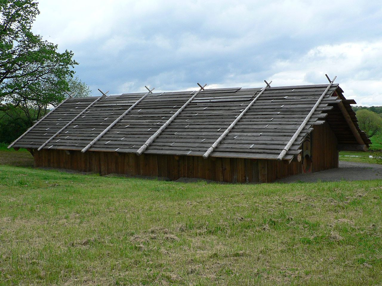 photo: Cathlapotle Plankhouse (a 2005 full-scale replica of a Chinookan-style cedar plankhouse). Photo by Walter Siegmund.