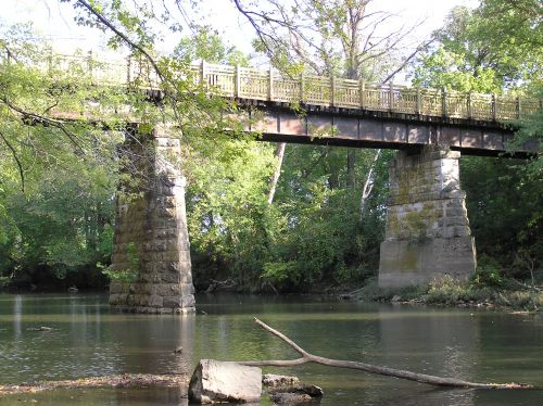 photo: The Frisco Highline Trail crosses 16 railroad bridges, including this 1880's beauty on the Little Sac River, at mile marker 23.
