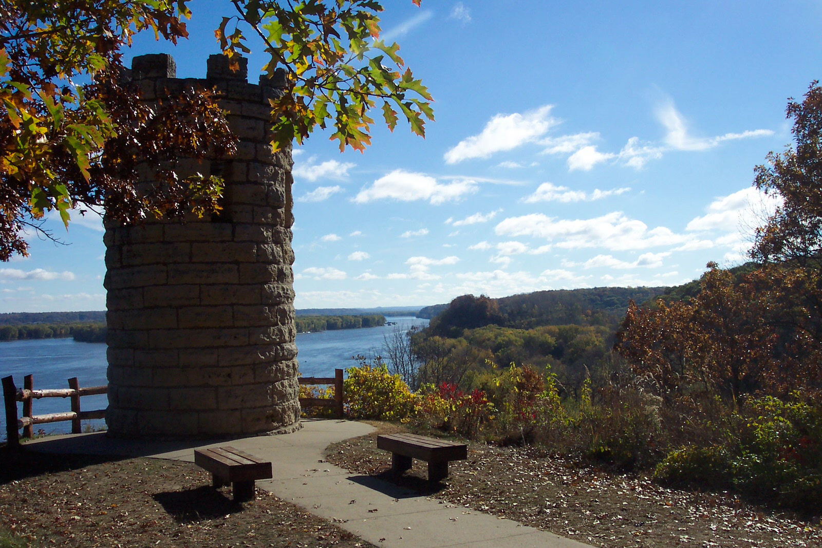 photo: Julien Dubuque Monument and the Mississippi River.