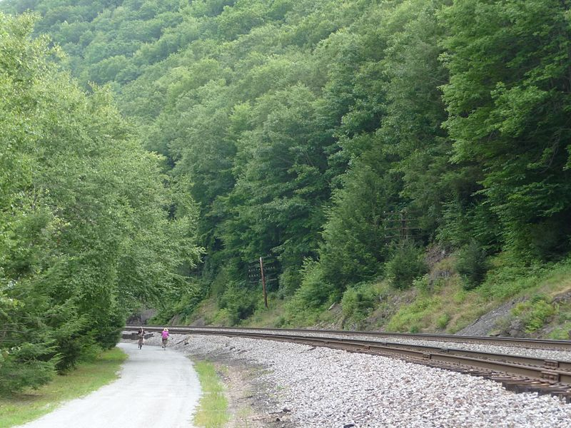 photo: A section of the Lehigh Gorge Trail, near Jim Thorpe, PA. Photo by Listroiderbob2.