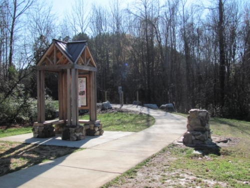 photo: Beginning of trail at the NC216 trail head