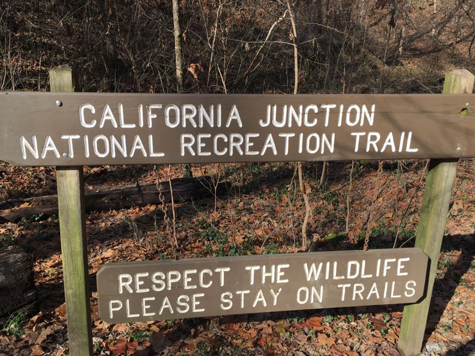 photo: California Junction trail sign. Photo by Maribeth Kiefer Lind.